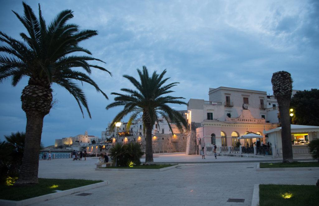 Auf dem Roadtrip durch Apulien führt ein Ziel nach Vieste auf Gargano - mit seinen Palmen und Lichtern pulsiert das Dörfchen bei Nacht.