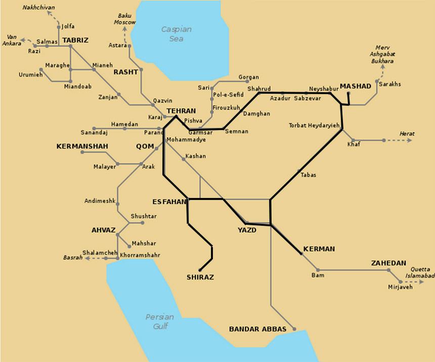 Travellers Insight Reiseblog Iran Eisenbahn Streckennetz Karte