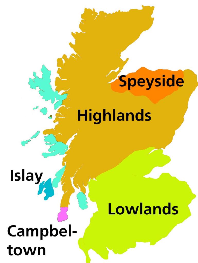 Eine buntgefärbte Karte zeigt die wichtigsten Whiskyregionen Schottlands.