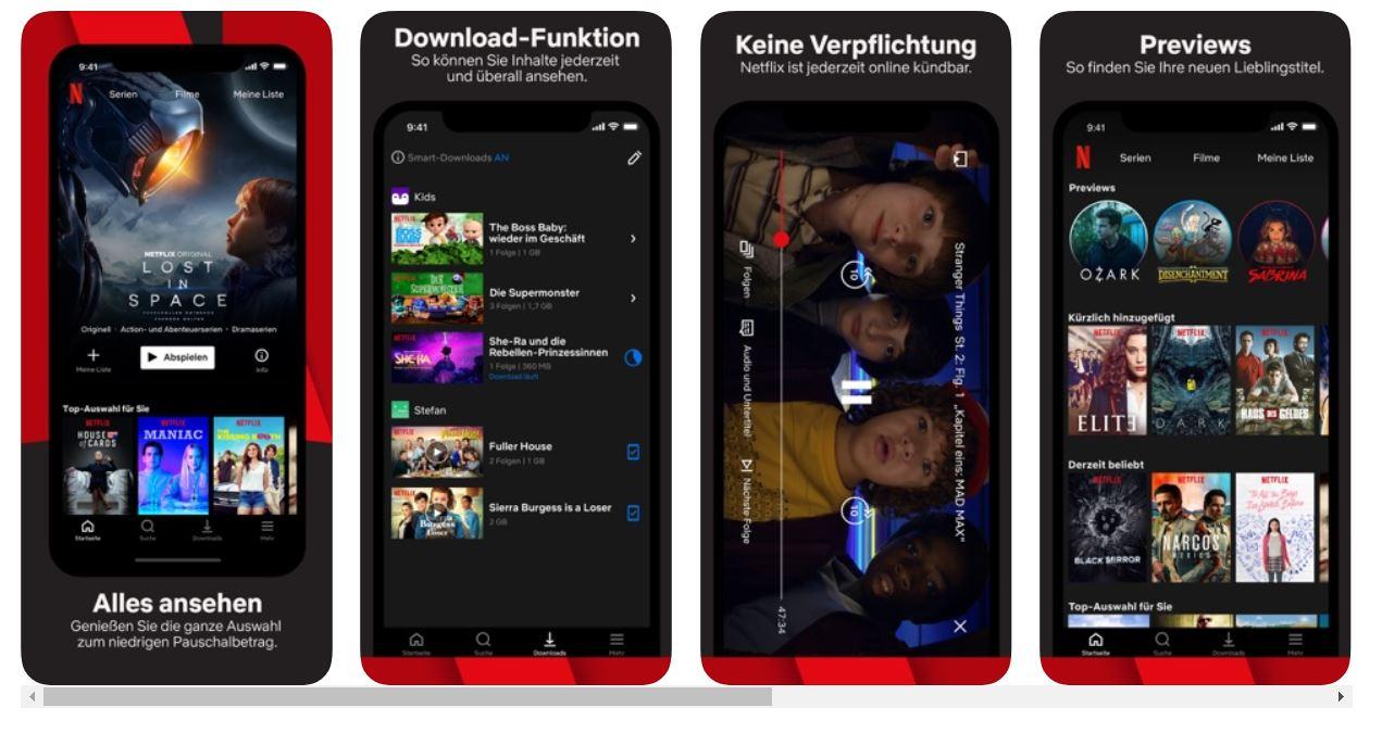 Screenshot auf die App Netflix.