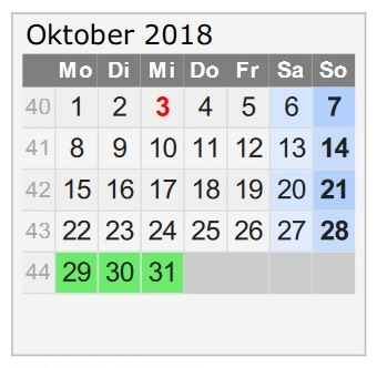 Travellers Insight Reiseblog Urlaub 2018 Kalender Oktober