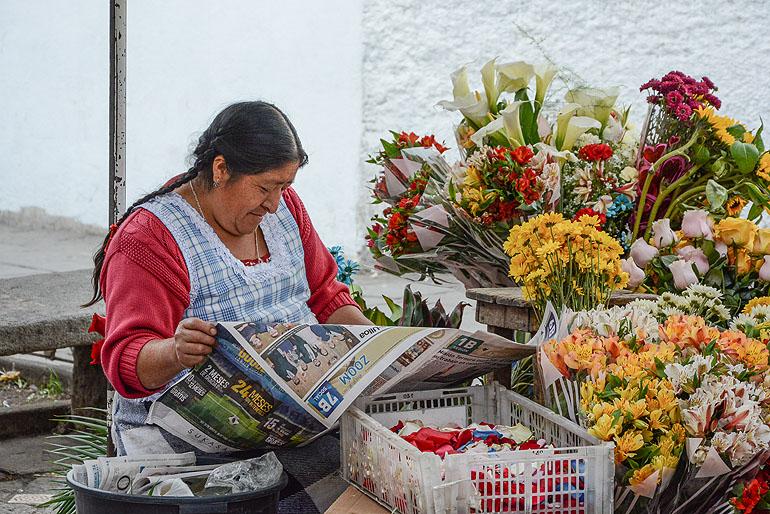 Beschaulich und bunt geht es zu auf dem Blumenmarkt in Cuenca, zentral gelegen direkt gegenüber der Kathedrale.