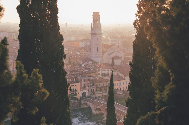 Sonnenuntergang vom Castel San Pietro in Verona