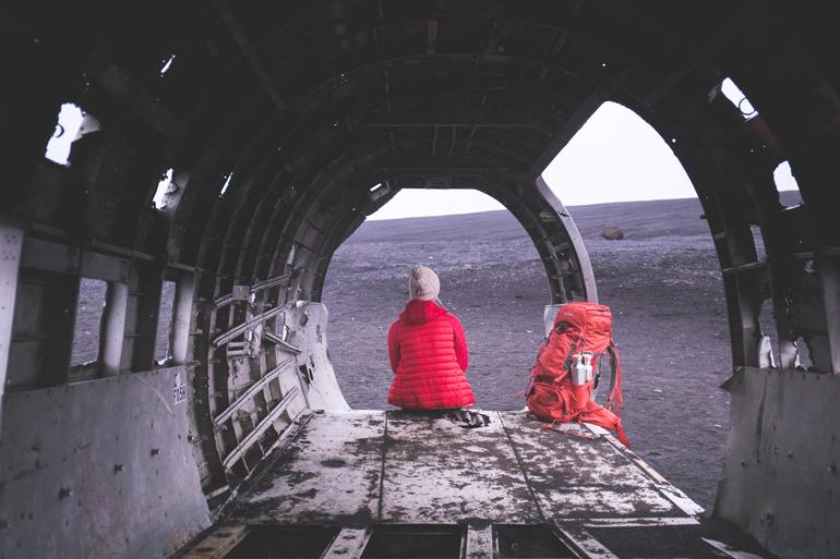 Island: Flugzeugwrack von innen