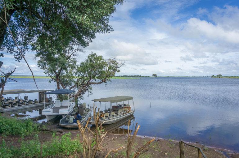 Anlegestelle mit fünf Booten am Chobe River
