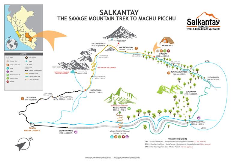 Die Abbildung der Karte zeigt den Weg des Salkantay Treks zum Machu Picchu in Peru.