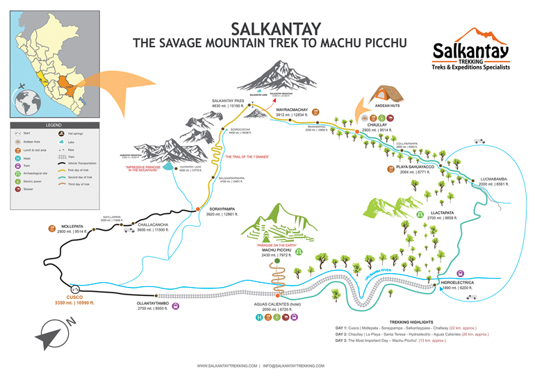 Karte für Salkantay Trek
