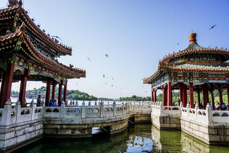 Peking: Beihai Park, chinesische Bauten und See