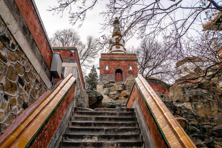 Peking: Sommerpalast, Blick von den Stufen auf Baukunst