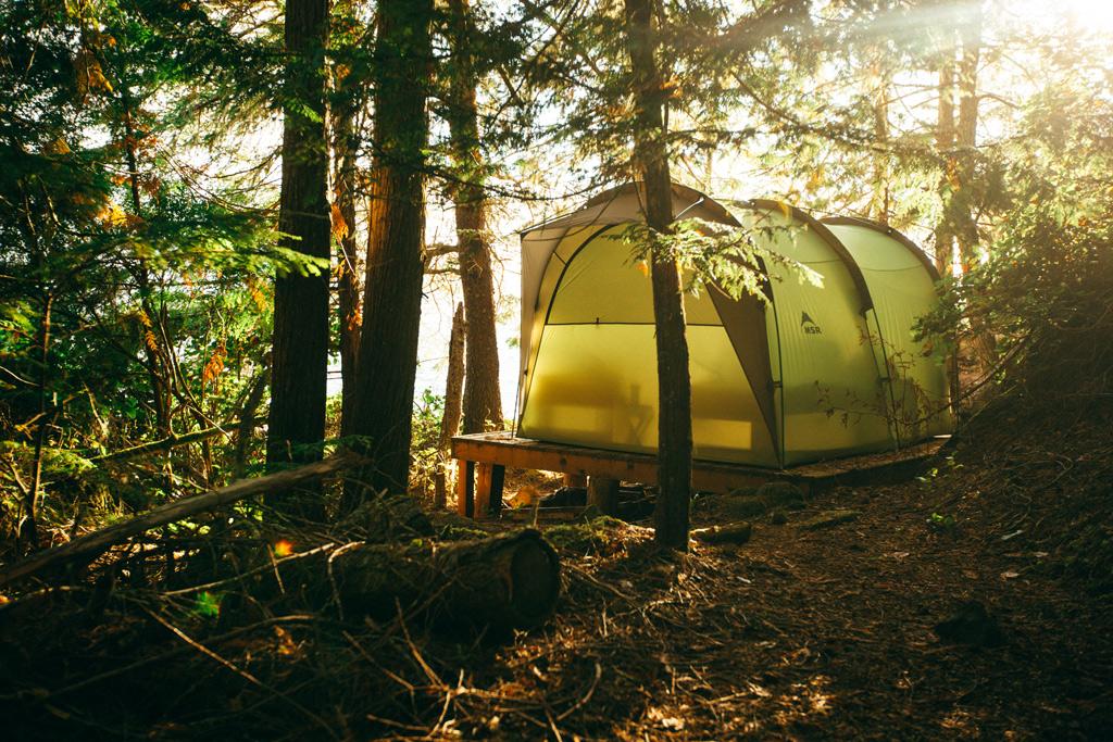 Vancouver Island: Ein großes grünes Zelt steht im Wald unter Bäumen.