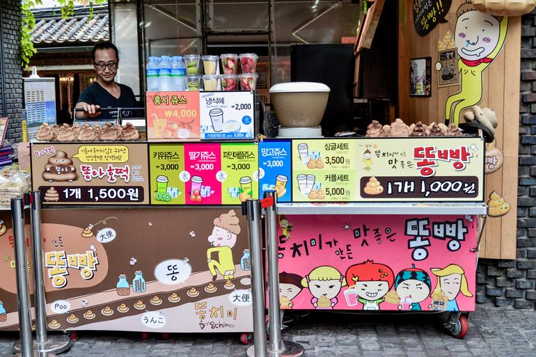 Seoul Sehenswürdigkeiten: Ein Wagen mit Süßigkeiten.