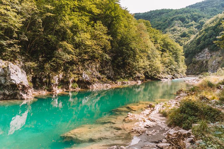 Reisetipps, Geheimtipps, Strand: Ein Fluss der an einem Wald entlang läuft.