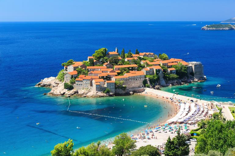 Sveti Stefan Insel in Budva, Montenegro