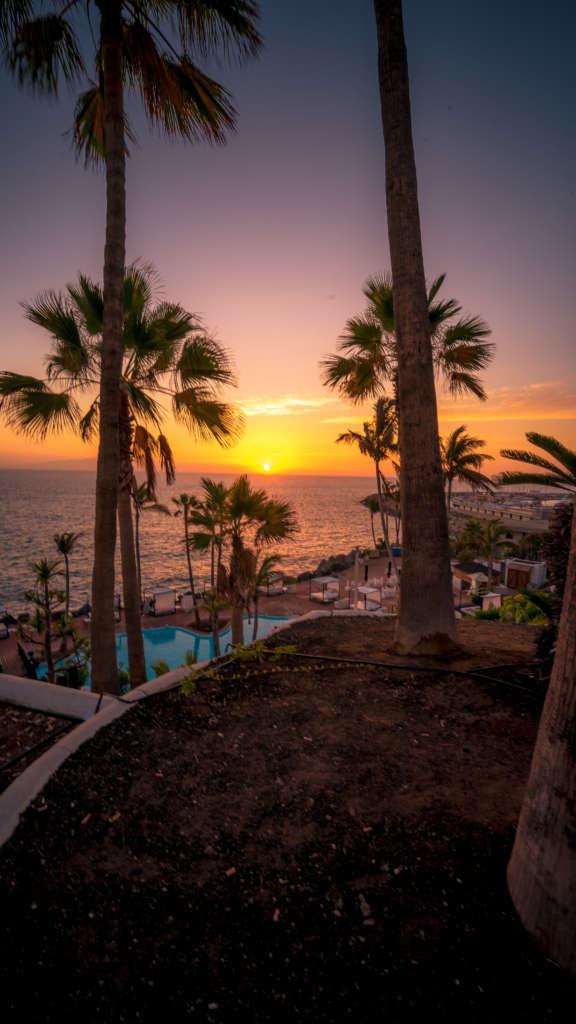 Hinter dem palmengesäumten Pool eines Hotels an der Costa Adeje auf Teneriffa sinkt die Sonne in den Atlantik.
