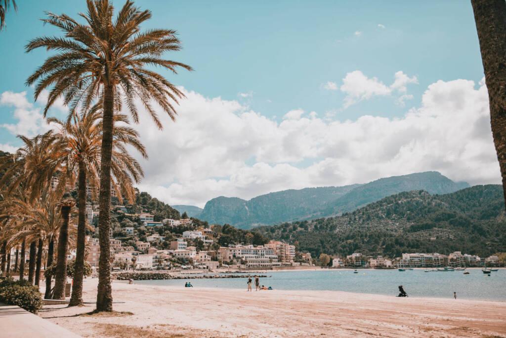 Der Strand mit Palmen am Port de Sóller mit Bergpanorama im Hintergrund ist ein Must-See in dem Dorf Sóller auf Mallorca.