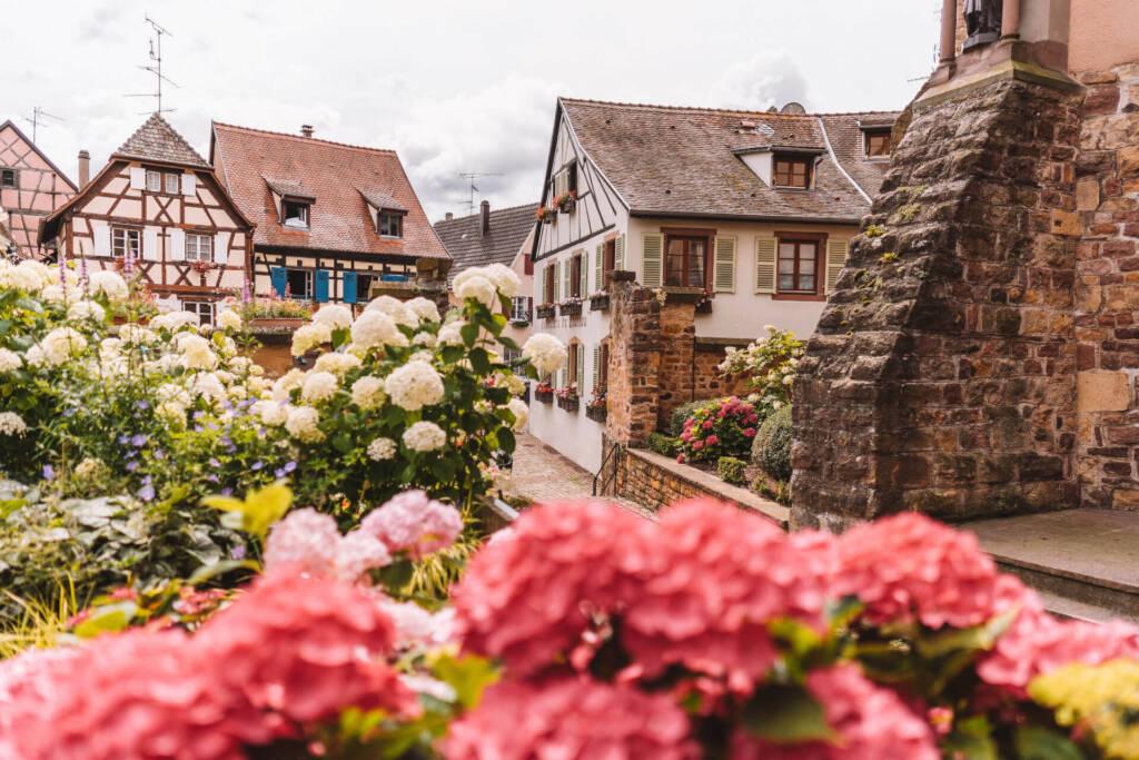 Das Dorf Eguisheim ist ein wunderschöner Geheimtipp mit historischen Gebäuden.