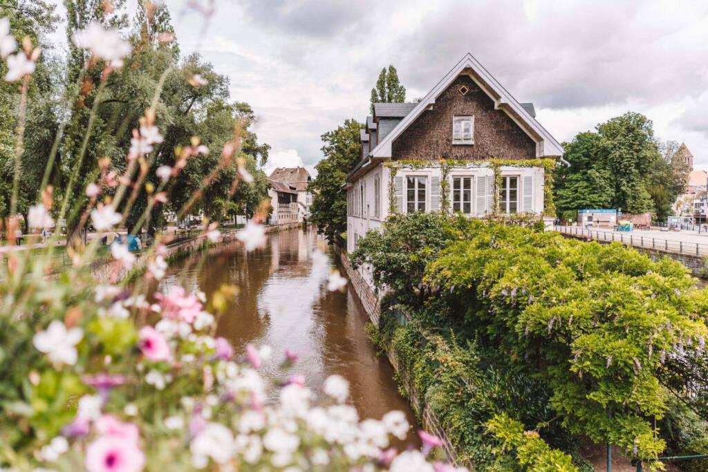 Das Rathaus von Strassburg liegt direkt am Fluss und wird von schönen Büschen und Blumen geschmückt.